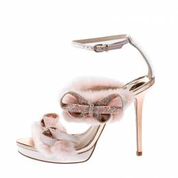 Sophia Webster Pink Faux Fur And Leather Bella Bow Embellished Ankle Strap Sandals Size 38 207017