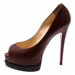 Christian Louboutin Brown Leather Peep toe Platform Pumps Size 38.5 200965