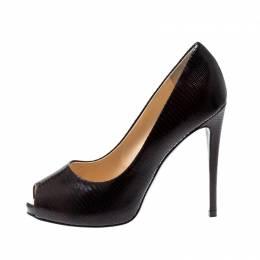 Giuseppe Zanotti Design Brown Embossed Leather Peep Toe Pumps Size 38 207003