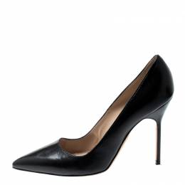Manolo Blahnik Black Leather BB Pointed Toe Pumps Size 38.5 200821