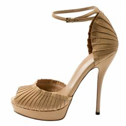 Gucci Beige Leather Taryn Peep Toe Ankle Strap Platform Sandals Size 37.5 200807