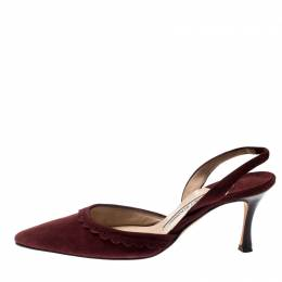 Manolo Blahnik Deep Wine Suede Pointed Toe Scallop Trim Slingback Sandals Size 37