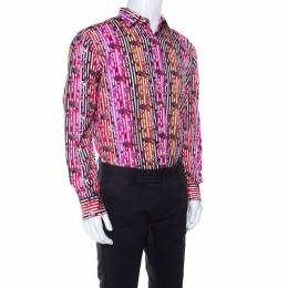Etro Multicolor Fish Print Striped Cotton Long Sleeve Button Front Shirt S