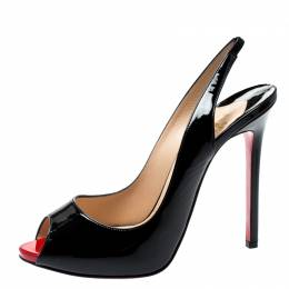 Christian Louboutin Black Patent Leather Private Number Slingback Platform Sandals Size 40 200595