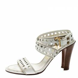 Salvatore Ferragamo White Perforated Leather Ankle Wrap Sandals Size 38 200560