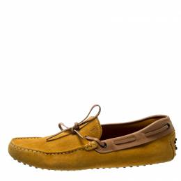 Tod's Yellow Suede And Beige Leather Trim Bow Loafers Size 42.5 200572