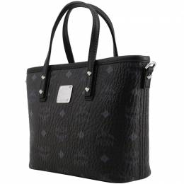 MCM Black Visetos Coated Canvas Mini Anya Top Zip Shopper Tote 252017