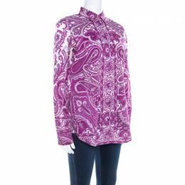 Etro Purple Paisley Print Cotton Stretch Button Front Shirt M
