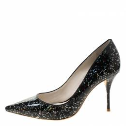 Sophia Webster Black Glitter Patent Leather Pointed Toe Pumps Size 38