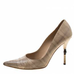 Gucci Beige Snakeskin Leather Bamboo Heel Pointed Toe Pumps Size 40 208103