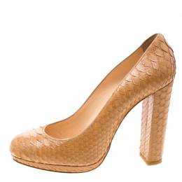 Christian Louboutin Beige Python Leather Block Heel Pumps Size 39.5 208138