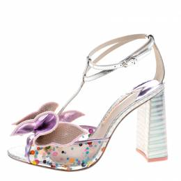 Sophia Webster Multicolor Metallic Leather And PVC Lana Crystal Embellished Block Heel Sandals Size 42 237484