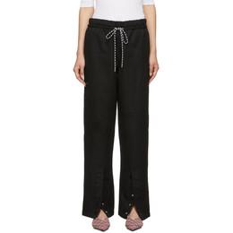 Proenza Schouler Black Washed Linen Drawstring Lounge Pants 192288F08600101GB