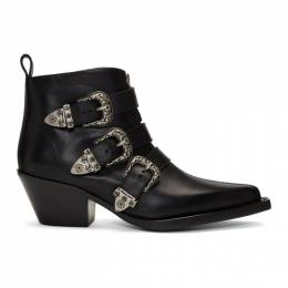 R13 Black Three-Buckle Ankle Boots 192021F11300201GB