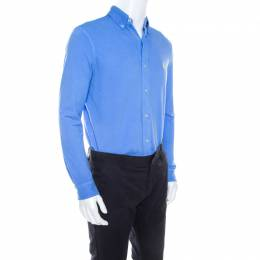 Ralph Lauren Featherweight Mesh Cabana Blue Cotton Pique Knit Long Sleeve Shirt S 208151