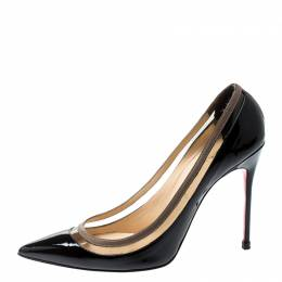 Christian Louboutin Black Patent Leather and PVC Paulina Pointed Toe Pumps Size 39.5 208416