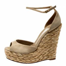 Gucci Grey Suede Ankle Strap Woven Jute Platform Wedges Ankle Strap Sandals Size 38.5 207804
