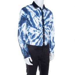 Dsquared2 Indigo Cotton Tie Dye Effect Denim Trim Relaxed Dan Shirt L 208110