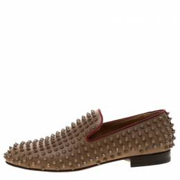 Christian Louboutin Brown Leather Rollerboy Spike Loafers Size 40 206950