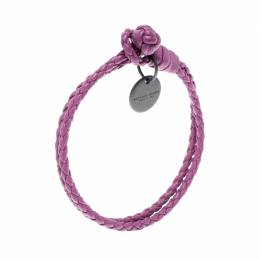 Bottega Veneta Intrecciato Nappa Purple Leather Double Strand Bracelet