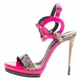 Casadei Fuschia Pink Patent and Embossed Roccia Leather Platform Ankle Strap Sandals Size 38 127896