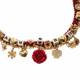 Dolce & Gabbana Amore Red Woven Gold Tone Choker Necklace 131770