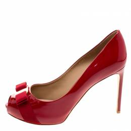 Salvatore Ferragamo Red Patent Leather Plum Peep Toe Platform Pumps Size 40.5