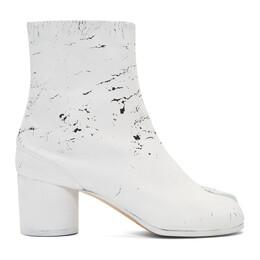 Maison Margiela SSENSE Exclusive Black White-Out Tabi Boots 192168F11300711GB