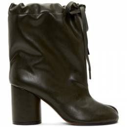 Maison Margiela SSENSE Exclusive Green Tie-Up Tabi Boots 192168F11300603GB