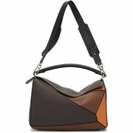 Loewe Brown and Orange Large Puzzle Bag 192677M17002001GB