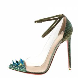 Christian Louboutin Green/Blue Cobra Leather And PVC Just Picks Spike Embellished Cap Toe Ankle Strap Pumps Size 39 208702