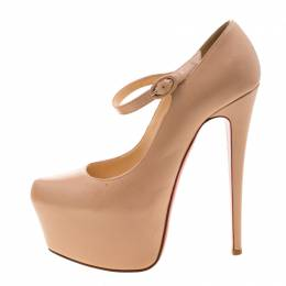 Christian Louboutin Beige Leather Lady Daf Mary Jane Pumps Size 38.5 208584