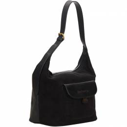 Burberry Black Suede Leather Hobo Bag 152350