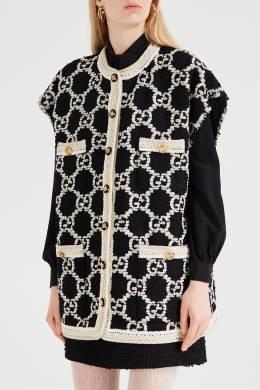 Твидовый жилет с орнаментом GG Gucci 470140109