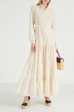 Платье с ажурной вышивкой GG Gucci 470139932