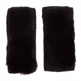Yves Salomon Black Rex Rabbit Fur and Cashmere Gloves 20W20WAA515XXCARD
