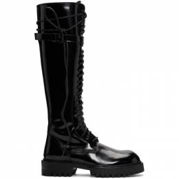 Ann Demeulemeester SSENSE Exclusive Black Patent Lace-Up Knee-High Boots 1802-2824-A-388-099