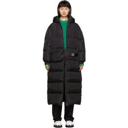 Prada Black Belt Bag Down Long Coat 291547 Q04