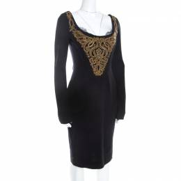 Emilio Pucci Black Wool Gold Beaded Long Sleeve Corset Dress M 208618