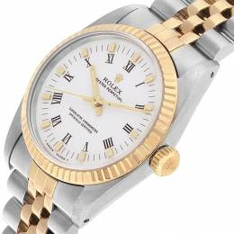 Rolex White 18K Yellow Gold and Stainless Steel 67513 Midsize Women's Wristwatch 31MM 207494
