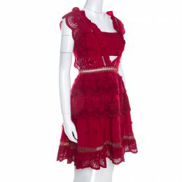 Self-portrait Red Crepe Eyelet Embroidered Tiered Sleeveless Peplum Dress M 208574