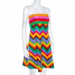 Valentino Multicolor Cotton Strapless Flared Dress M 208570