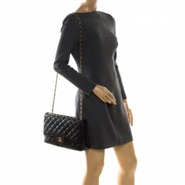 Chanel Black Quilted Caviar Leather Jumbo Classic Double Flap Bag 208572