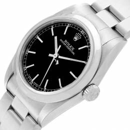 Rolex Black Stainless Steel Oyster Perpetual 77080 Midsize Women's Wristwatch 31MM 207489