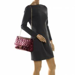 Chanel Burgundy Metallic Quilted Leather Reissue 2.55 Classic 227 Flap Bag 208021