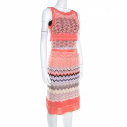 Missoni Orange Patterned Cotton Knit Sleeveless Top and Skirt Set S 208481