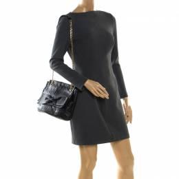 Carolina Herrera Black Monogram Leather Audrey Shoulder Bag 208009
