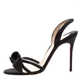 Christian Louboutin Black Satin Bow Slingback Open Toe Ankle Strap Sandals Size 39 208671