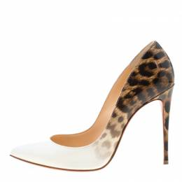 Christian Louboutin White And Leopard Print Patent Leather Pigalle Follies Pumps Size 36.5