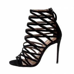 Aquazzura Black Suede Leather Knockout Cage Sandals Size 35.5 201043